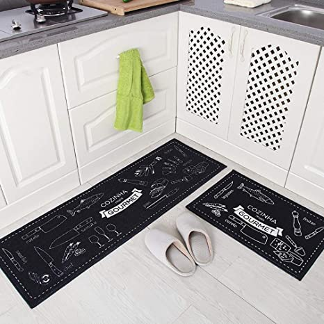 Non Slip Kitchen Rug Set Washable Anti Fatigue Floor Entryway Mat With Rubber Backing Black