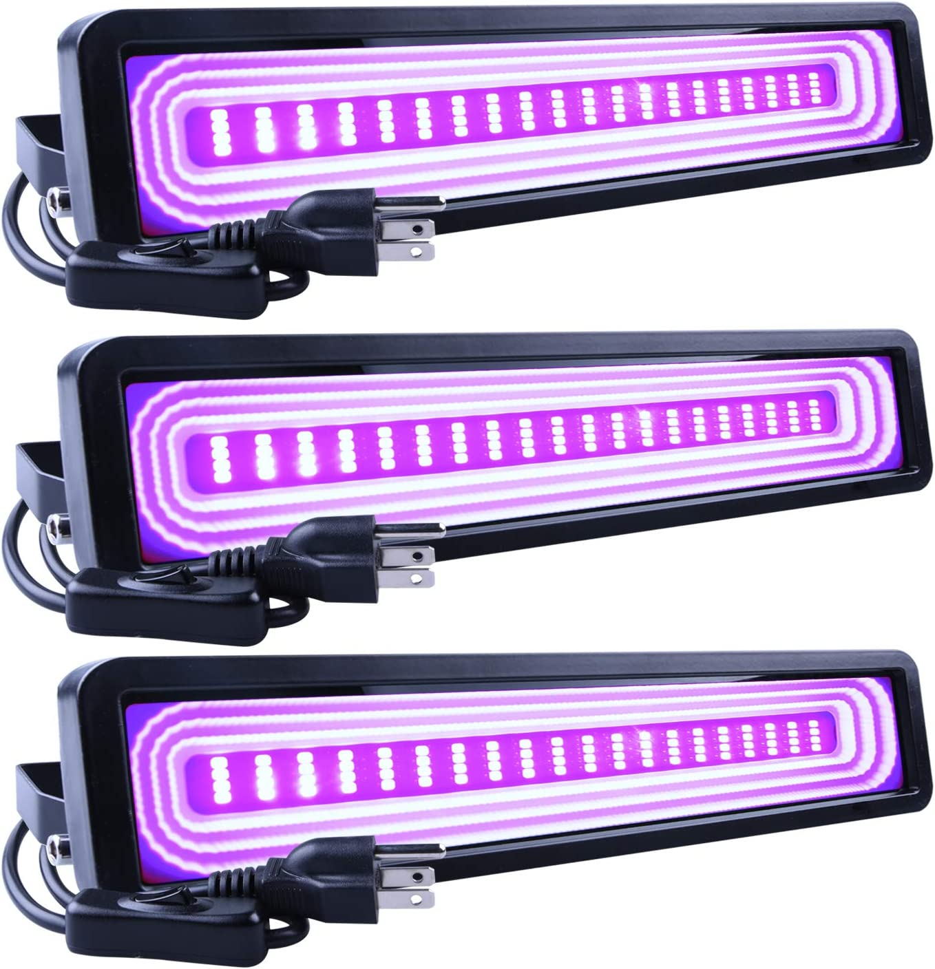 SHPODA 3 Pack 36W LED Black Light Bar Flood Light,with Plug and Switch(5ft Cable),IP66 Waterpro,Glow in The Dark Party Supplies for Stage Lighting,Halloween,Body Paint,Birthday Wedding Party