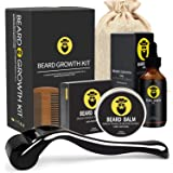 Beard Growth Kit - Derma Roller for Beard Growth, Beard Growth Serum Oil, Beard Balm and Comb, Stimulate Beard and Hair Growt