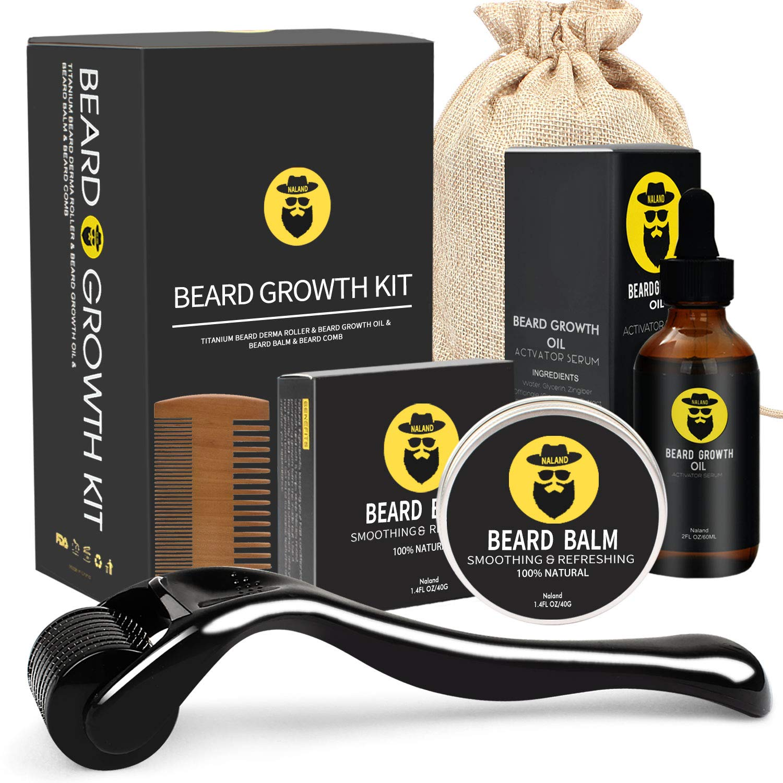 Beard Growth Kit - Derma Roller for Beard Growth, Beard Growth Serum Oil, Beard Balm and Comb, Stimulate Beard and Hair Growth - Gifts for Men Dad Him Boyfriend Husband Brother