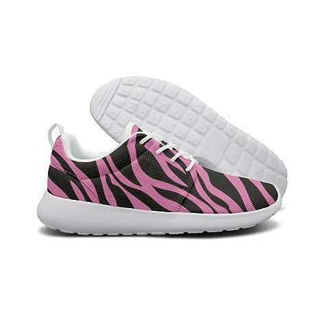 0cd3b242d2fa7 Amazon.com: ERSER Pink Rainbow Zebra Stripe Cushioned Running Shoes ...