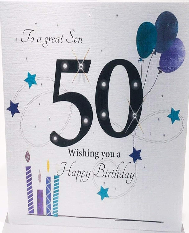 Tarjeta de felicitación de 50 cumpleaños para hijo, tamaño ...