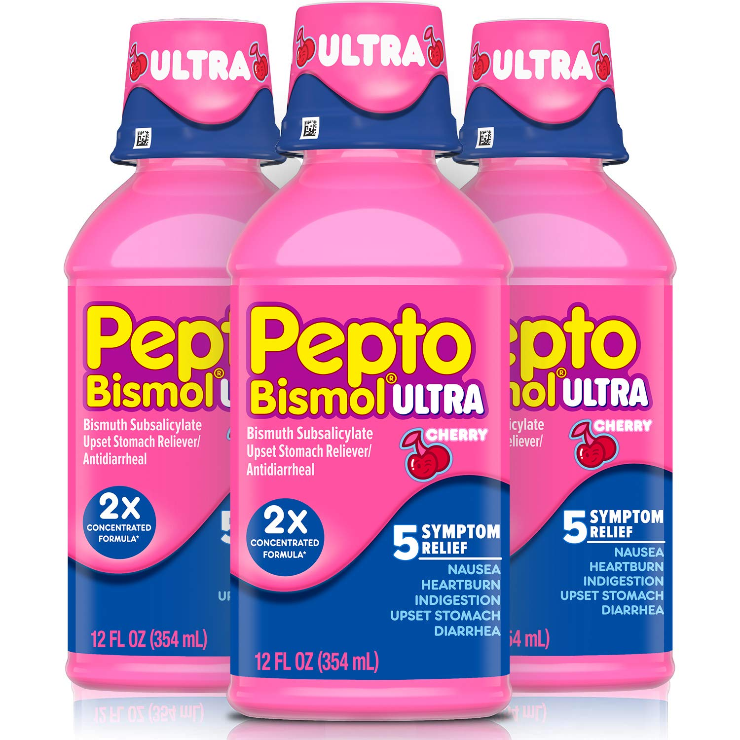Pepto Bismol Ultra Liquid, 2X Concentrated Formula, Upset Stomach Relief, Bismuth Subsalicylate, Multi-Symptom Gas, Nausea, Heartburn, Indigestion, Diarrhea Relief, Cherry, 12 OZ Liquid (3 Pack)