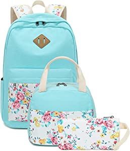 School Backpacks for Teen Girls Bookbags Lightweight Canvas Backpack Schoolbag Set (Turquoise-Flower)