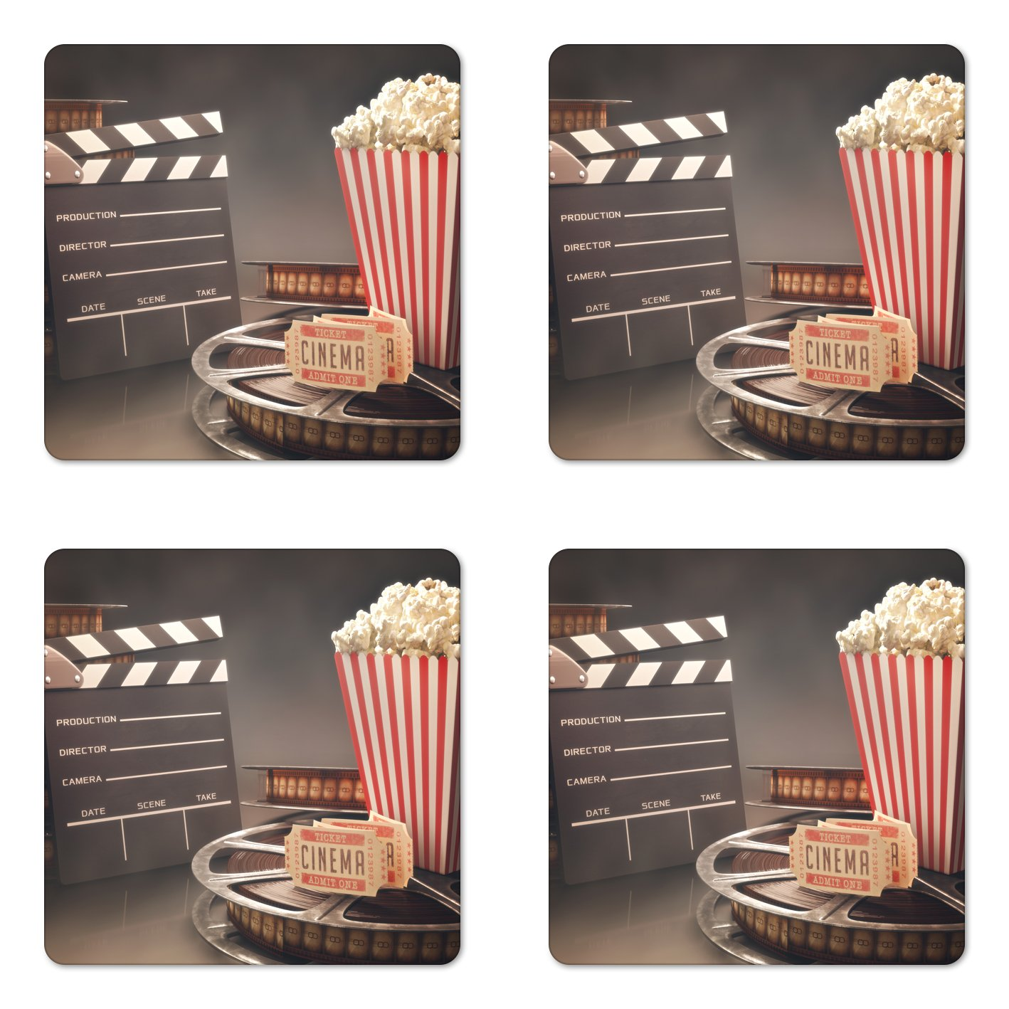 Ambesonne Movie Theater Coaster Set of Four, Old Fashion Entertainment Objects Related to Cinema Film Reel Motion Picture, Square Hardboard Gloss Coasters for Drinks, Multicolor