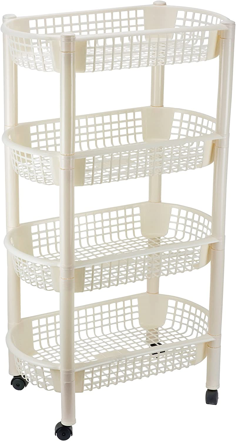 DecorRack Kitchen Storage Rack, 4-Tier Wheeled Plastic Wicker Mesh Basket Shelving Trolley, Rolling Kitchen Storage Cart with Shelves on Wheels for Vegetable and Fruit Storage, Cream Color