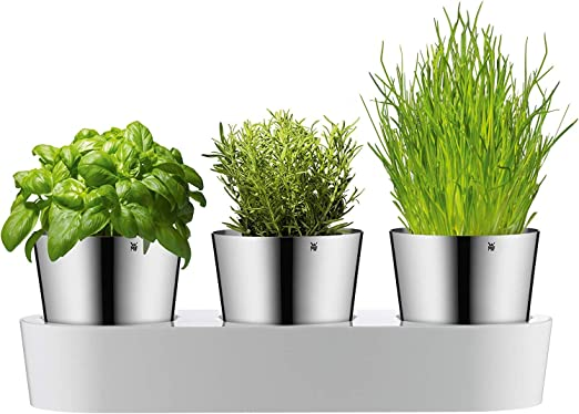 WMF Gourmet Kräutergarten-Set 3-teilig, Kräutertopf mit Bewässerungssystem,  Edelstahl Cromargan, Kunststoff, für frische Kräuter wie Basilikum, ...