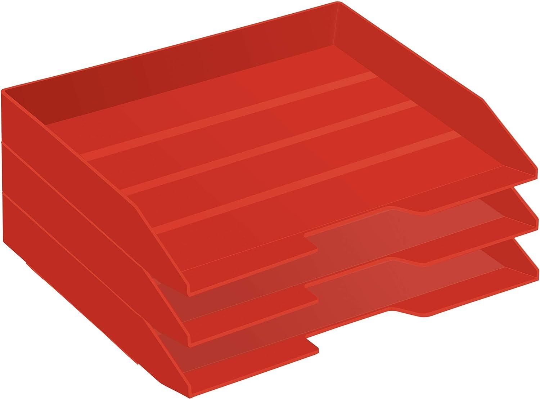 Acrimet Stackable Letter Tray 3 Tier Side Load Plastic Desktop File Organizer (Solid Red Color)