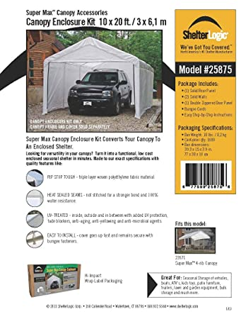 Amazon.com ShelterLogic 10 x 20- Feet Canopy Enclosure Kit Fits 2- Inch Frame White (Side Panels Only Shelter Accessory) Sports u0026 Outdoors  sc 1 st  Amazon.com & Amazon.com: ShelterLogic 10 x 20- Feet Canopy Enclosure Kit Fits ...