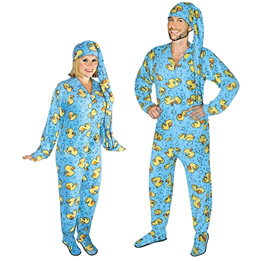 Rubber Ducks Footed Pajamas for Adults with Drop Seat and Long Night Cap (3)