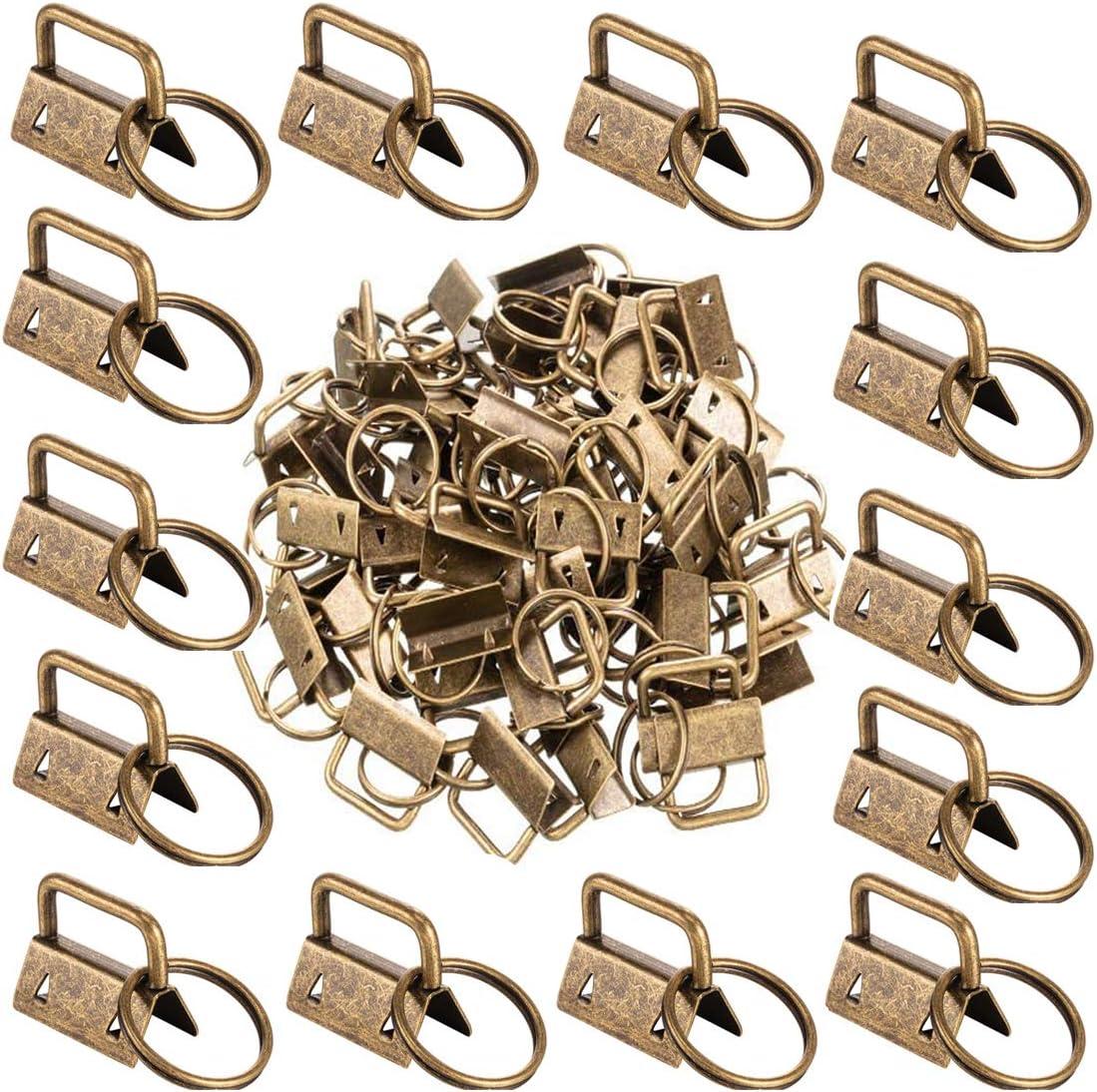 50Pcs 1 Inch Key Fob Hardware Bronze Key Chain Fob Wristlet Hardware with Key Ring for Lanyard
