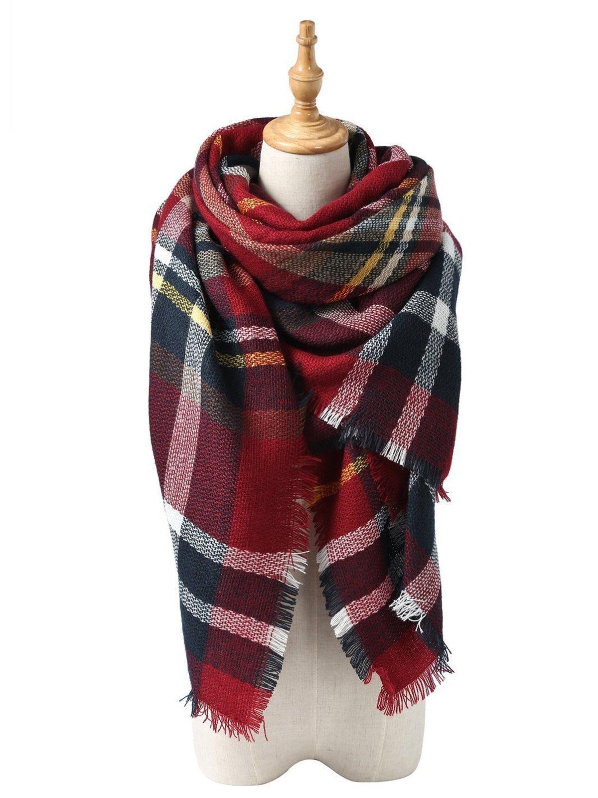 Zando Women's Scarves Plaid Blanket Thick Fall Winter Scarf Dark Red
