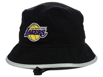 Los Angeles Lakers NBA New Era Reflective Rim Training Bucket Boonie Black  Hat (Medium) 7797847aa70