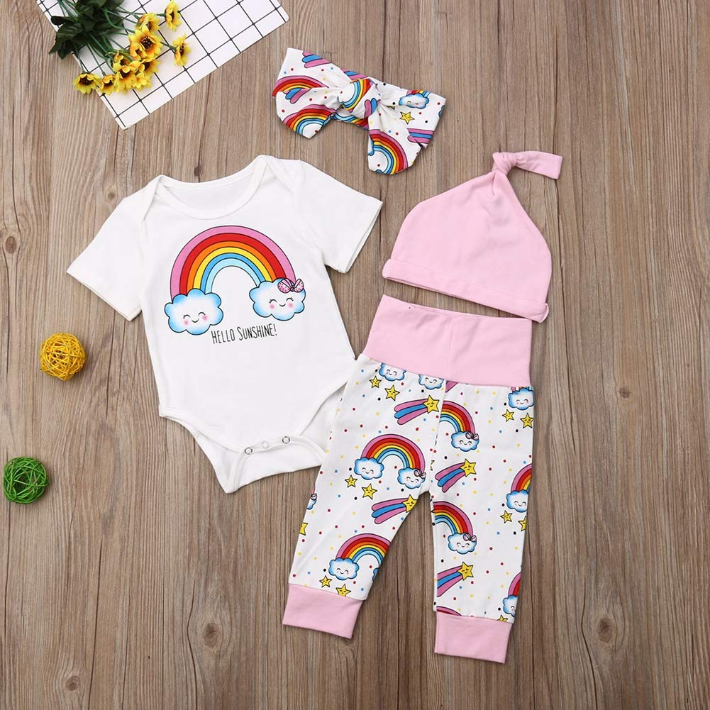 Gl/ücklicher K/äufer Baby Kleidung Set Letters Print Strampler Kurzarm Top Floral Hosen Hut Stirnband 4pcs Outfits Set