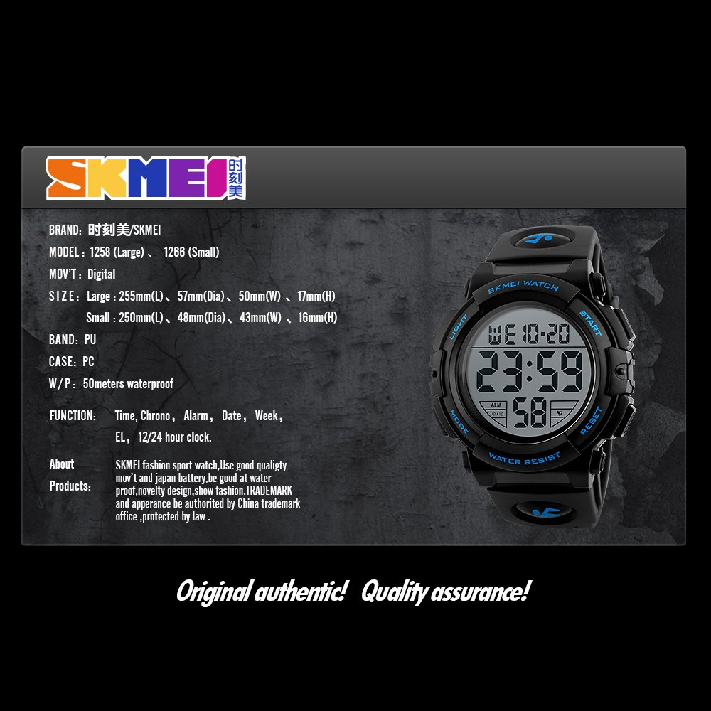 Amazon.com: Boys Waterproof Outdoor Sports Watches,Skmei Electronic LED Digital Multifunction Girls Kids Wrist Watch,W/ Alarm Back Light (black): Watches