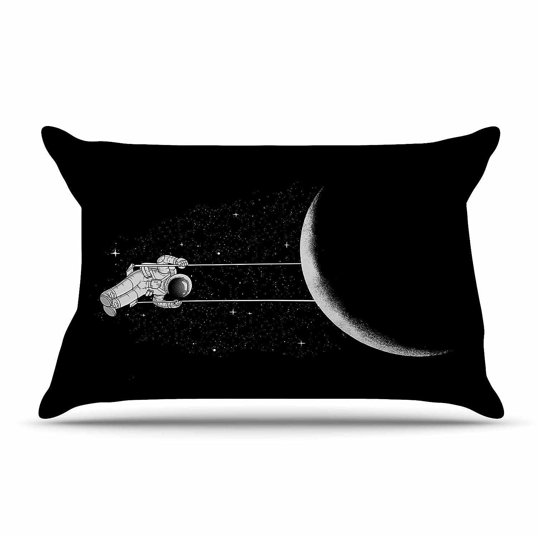 Kess InHouse Digital Carbine Moon Swing Black Fantasy Illustration 30 x 20 Pillow Sham