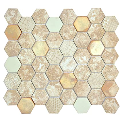 hexacycle mix cream coastal colors hexagon pattern recycled glass