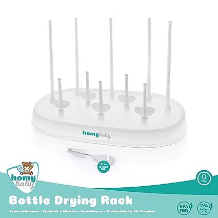Escurre biberones Homybaby | escurridor de biberones para secar biberones y accesorios | higiénico y práctico para después de lavar biberones | ...
