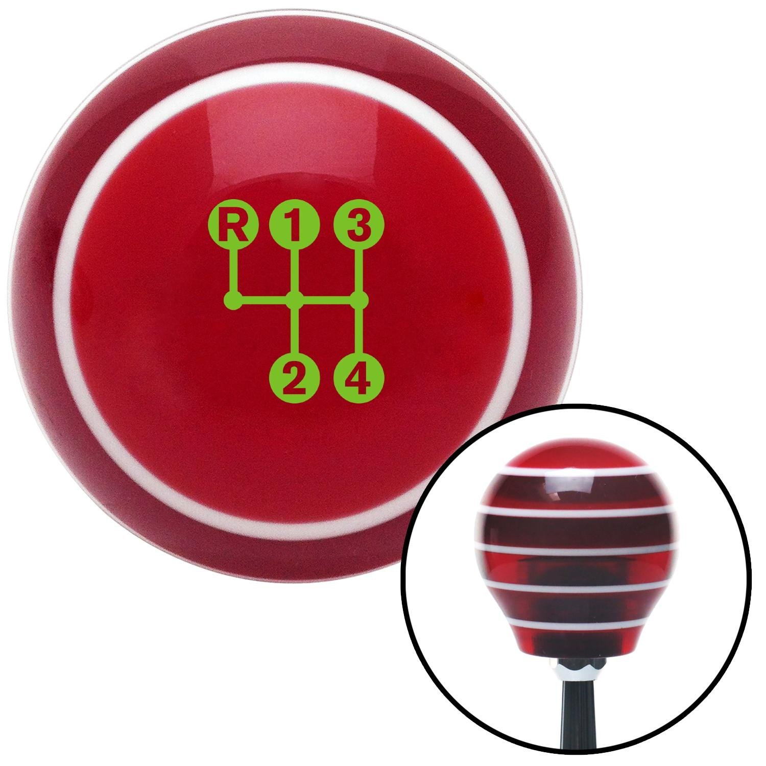 Green 4 Speed Shift Pattern - Dots 3n Red Stripe with M16 x 1.5 Insert American Shifter 274329 Shift Knob