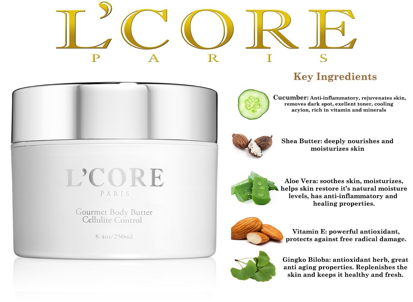 L'Core Paris Gourmet Cellulite Control Body Butter - Reduces Cellulite, Stretch Marks, Replenishes and Moisturizes Your Skin - 8.4oz/250ml
