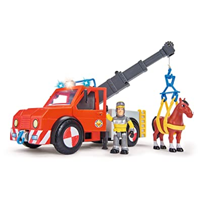 "Simba 109258280 ""Fireman Sam - Phoenix Rescue Vehicle Playset with Figurine and Horse: Toys & Games"
