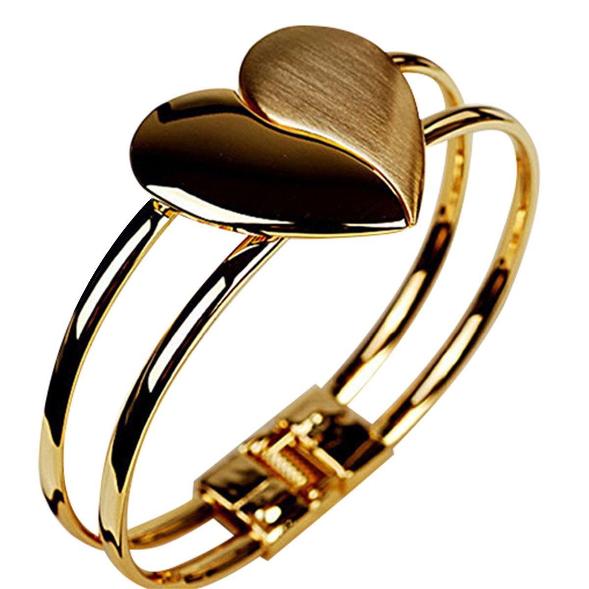 CH Elegant Charm Heart Shaped Wristband Gold Color Bracelets Bangles For Women Fashion Cuff Bracelets