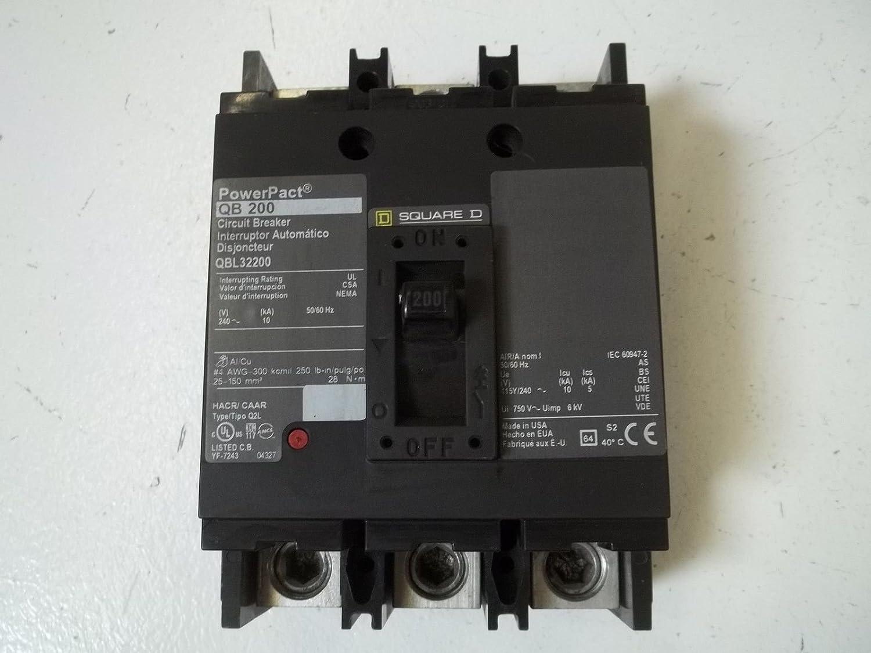 SQUARE D QBL32200   3 POLE 200 Amp 240V  CIRCUIT BREAKER