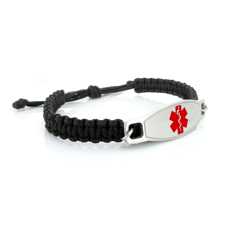 MedicEngraved Black Macrame Medical ID Bracelet with Surgical 316L Stainless Steel Red Enamel Medical Tag - Adjustable 7.5 - 9 inch MBR-K-MB-RED2