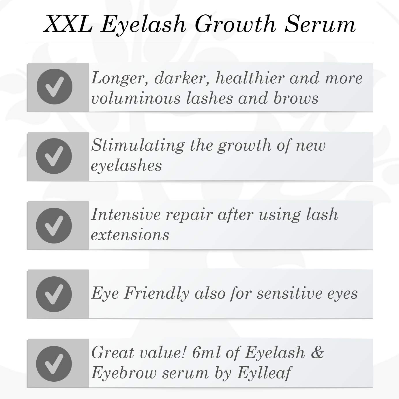 Eylleaf XXL sérum de crecimiento de pestañas 6 ml con fórmula ...