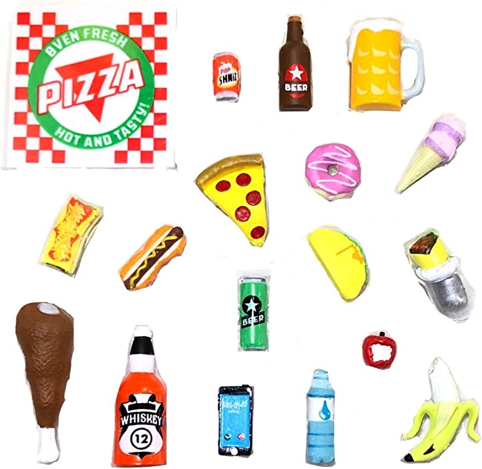 Super Action Stuff 18 Piece Super Foodie Action Figure Accessories 1:12 and Six inch Scale Compatible Miniature Plastic Food Accessories That fit Most 5 to 7 inch Action Figures for Hilarious Photos