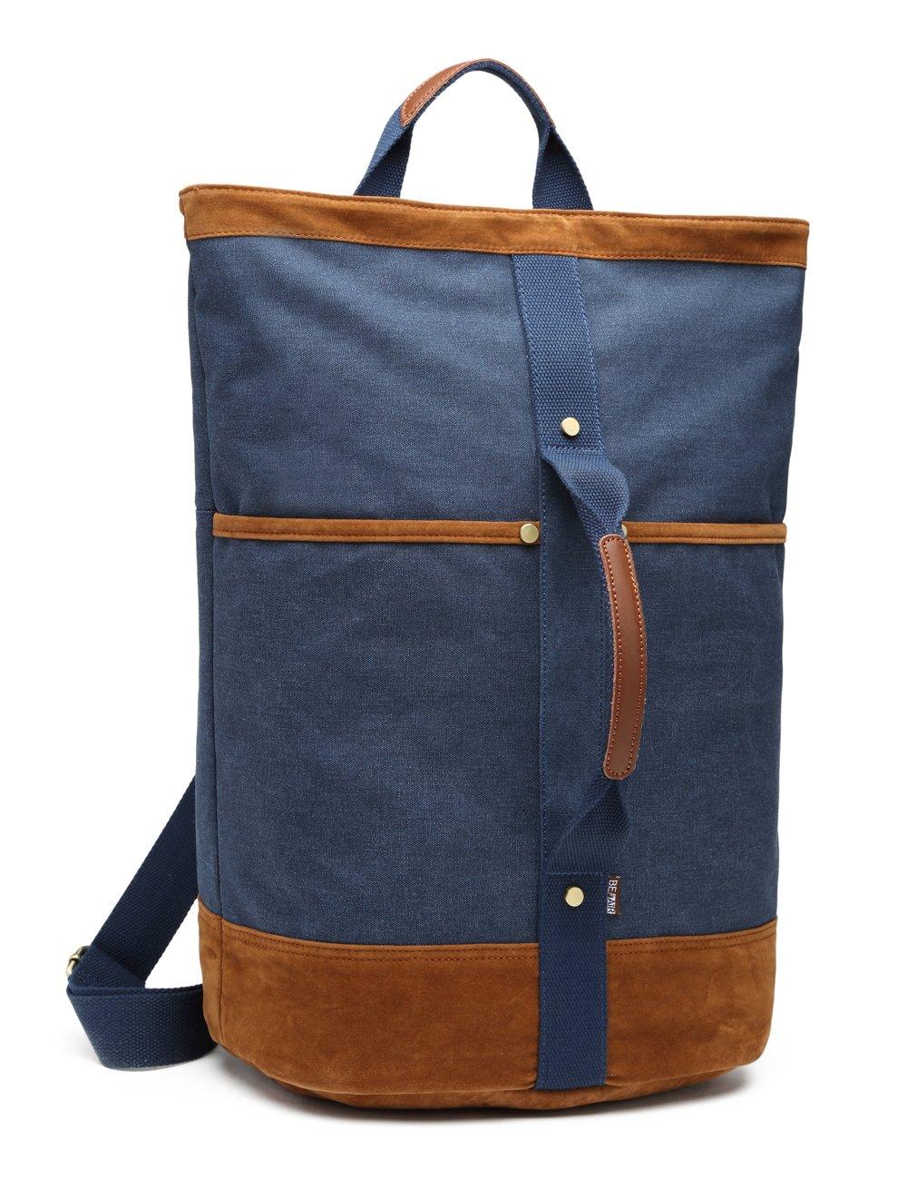 Canvas Rucksack Travel Backpack BEFAiR Vintage Duffel Bag Shoulder Sling laptop Weekend Bag for Men Women (Blue)