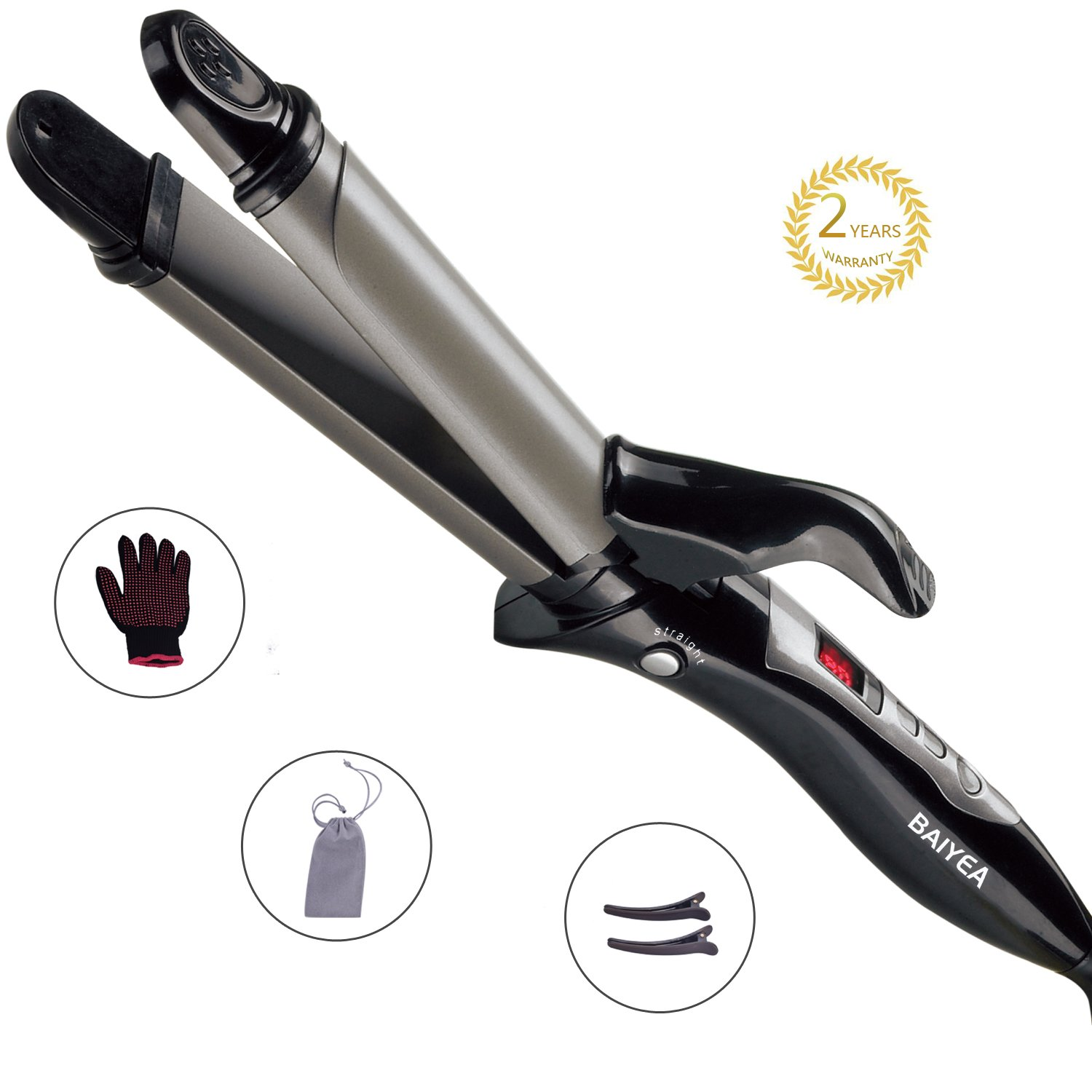 Baiyea Hair Straightener Professional Flat Iron Curling Wand 2 In 1 Anti-Static Ceramic Technology Straightens Curls Dual Voltage Adjustable Temp LCD Display for All Hair Type