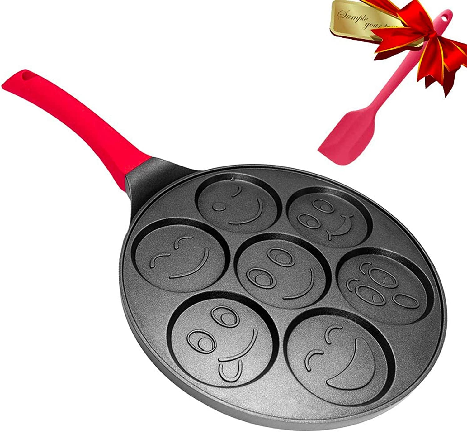 Emoji Pancake Pan - Pancake Griddle Shapes - Nonstick Smiley Face Pancake Pan Nonstick 7 Mold Emoji Smiley Pancake,DAYOOH