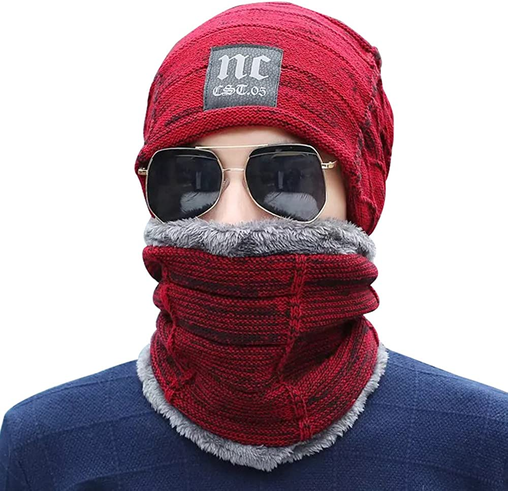 PenGreat 2 Pieces Winter Beanie Hat Scarf Set Warm Knit Hat Thick Knit Skull Cap for Men Women