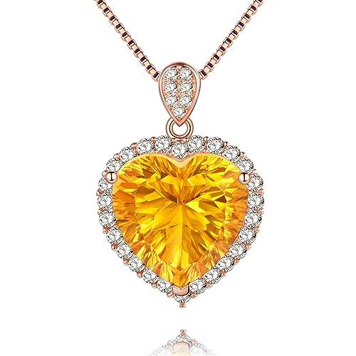 miglior sito web 8ccb3 d5991 Uloveido giallo citrino topazio in argento Sterling collana con ciondolo,  cuore innamorato per donne con oro rosa catena FN016