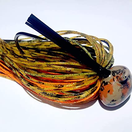 3 Black Brown Amber 3//8 oz Football Jigs with matching Craw Trailer