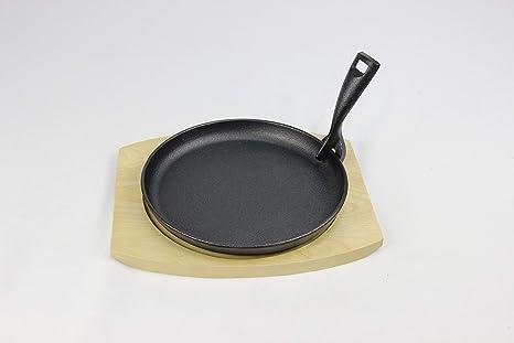 Santos Fajita Sartén Sartén parrilla (Incluye bandeja y mango hierro fundido fundido Sartén Sartén para parrilla de gas o carbón Grill - Barbacoa/Grill ...