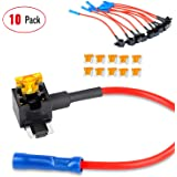 Nilight - 50038R 10 Pack 12V Car Add-a-circuit Fuse TAP Adapter with 5 Amp Low Profile Mini Blade Fuse Set for Cars Trucks Bo