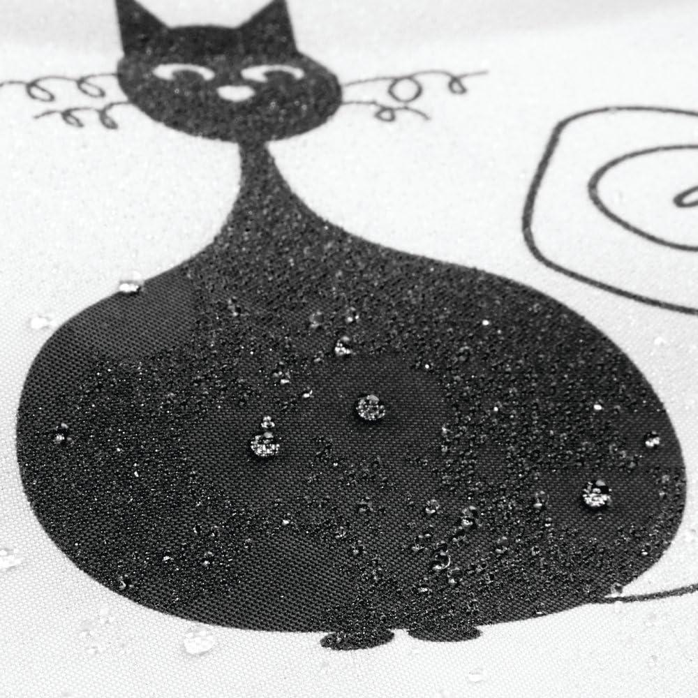 Tenda in poliestere 183,0 cm x 183,0 cm InterDesign SophistiCat Tenda da doccia Tenda per vasca da bagno con motivo a gattini Poliestere nero//bianco