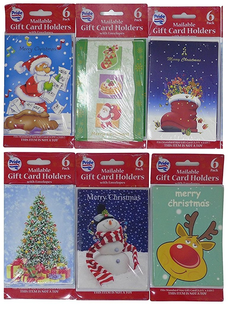 36 Pcs Gift Card Holder (3.75' X 5.25' - 6 Assorted designs) | Stylish Holiday Gift Card Boxes Set, Santa, Reindeer & Snow Man Gift Boxes Pride Products