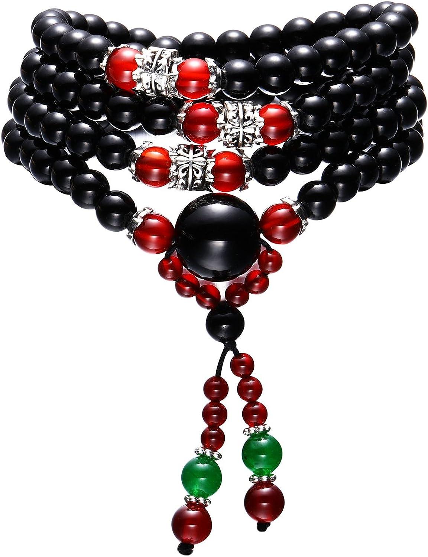 Obsidian 6 mm Multi-couche Winding Collar Tibetano Budista Colgante Pulsera Ágata Piedra Pulsera