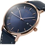 MDC Mens Minimalist Ultra Thin Brown Leather Watch Dress Casual Classic Slim Simple Wrist Watches for Men