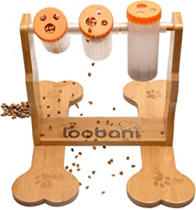 LOOBANI Dogs Food Puzzle Feeder Toys for IQ Training & Mental Enrichment, Interactive Funny Entertainment Pass Time Games for Pets,Adjustable Treats Dispenserby Spinning Bottle