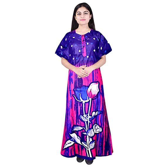 51f1f56f05 Silver Organisation Women s Cotton Full Length Nighty (SON 676  Multicolor  Free  Size)  Amazon.in  Clothing   Accessories