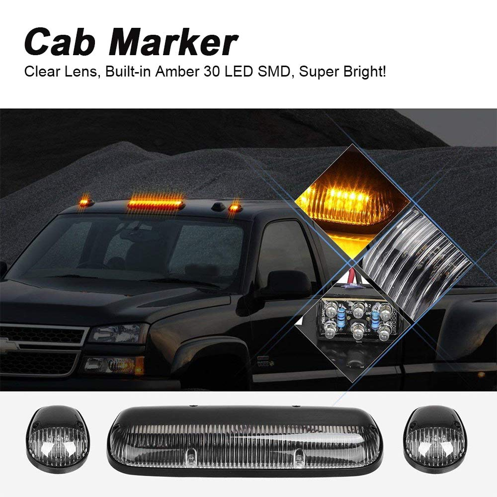 3pcs clear cover cab roof top marker lights amber 30 led running  clearance lights with wiring