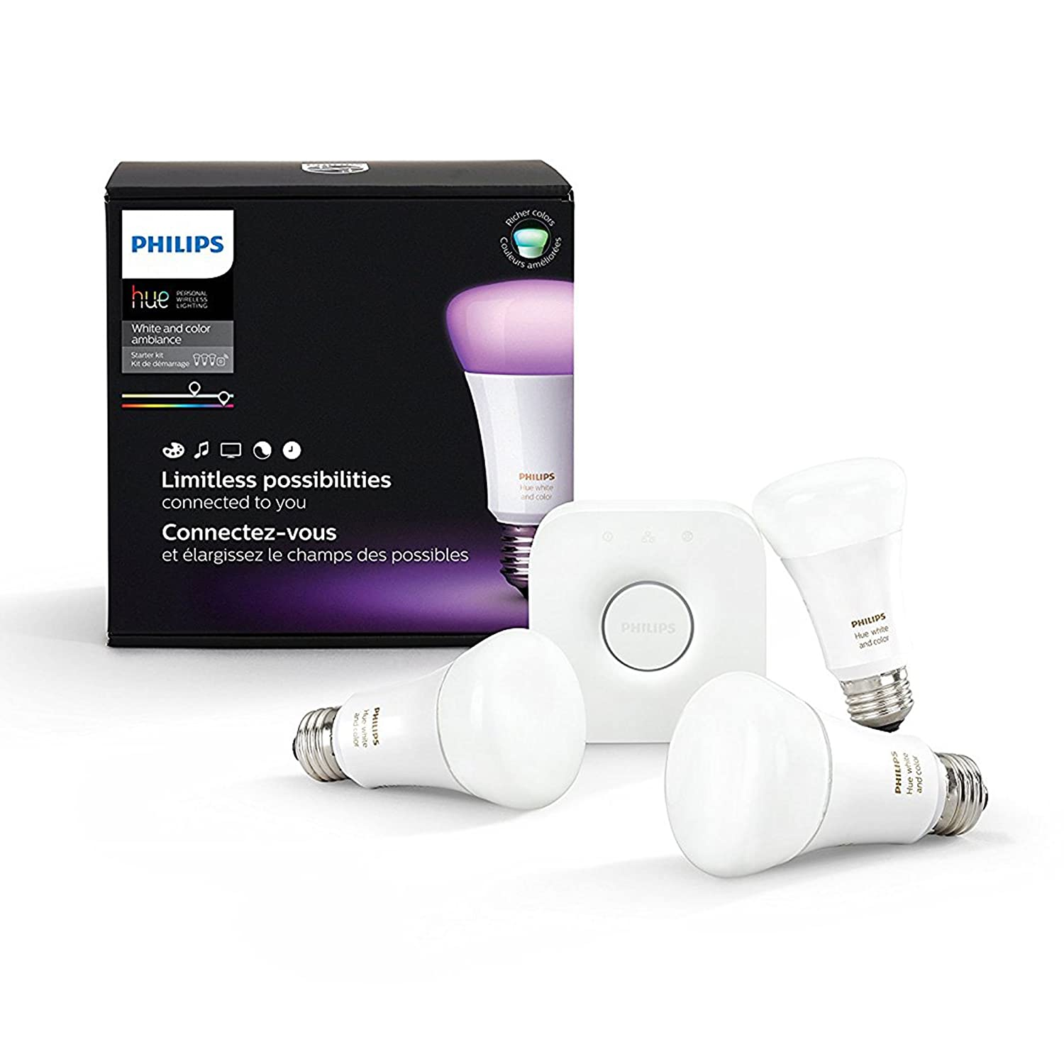 Philips Hue White and Color Ambiance A19 60W Equivalent LED Smart Bulb Starter Kit (3 A19 Bulbs and 1 Hub Compatible with Amazon Alexa Apple HomeKitand Google Assistant)