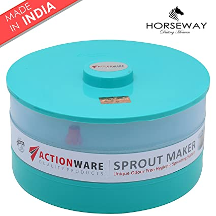 HORSEWAY Plastic 2 Compartments Sprout Maker Container(Green, Pink, Blue)