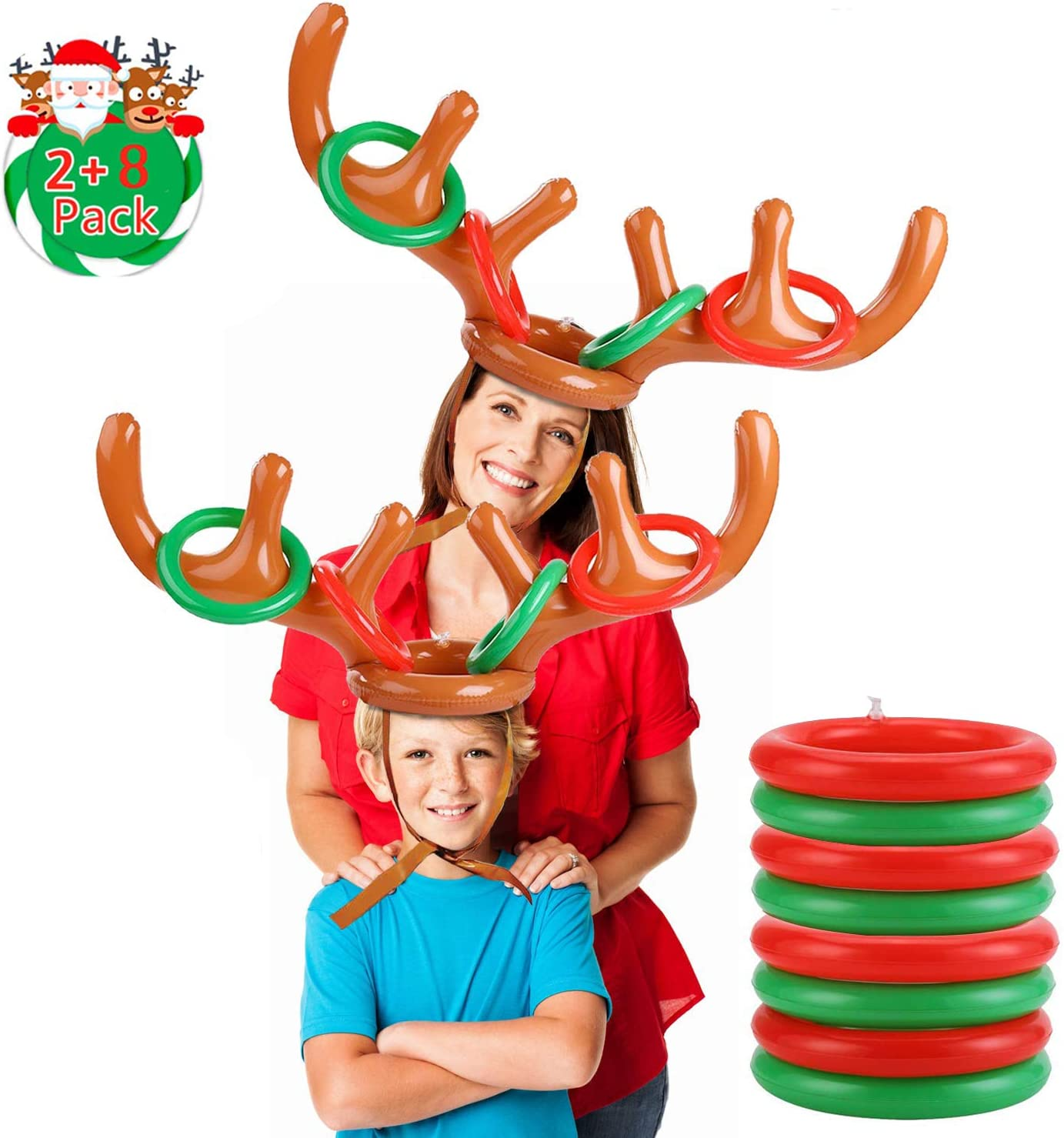2 Inflatable Antler 12 Rings Reindeer Ring Toss Inflatable Reindeer Antler Hat With Rings Anisqui 2