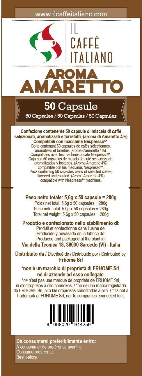 Caffè italiano 50 Nespresso-Compatible Capsules - 50 Capsules Coffee Flavoured Hazelnut-Compatible Nespresso Coffee Machine - Coffee Machine Nespresso, ...