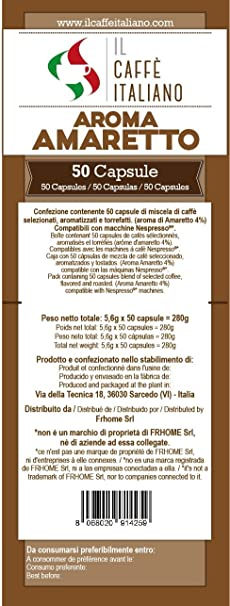 Caffè italiano 50 Nespresso Compatible Coffee Capsules - Coffee Flavoured Amaretto -50 X Coffee Capsules/Pods Espresso Compatible Nespresso - (10 Pack Of 5 ...